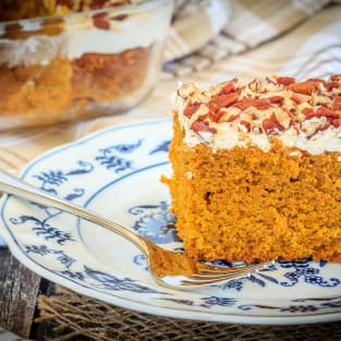 Pumpkin snack cake with cream cheese frosting photo