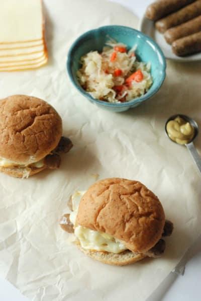Sauerkraut Topped Brat Burgers Image