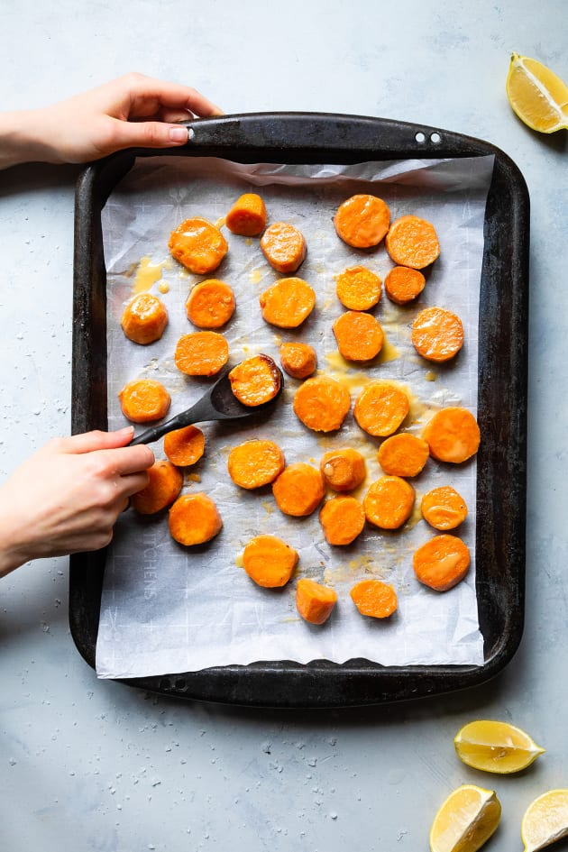 Roasted Tahini Maple Sweet Potatoes Image