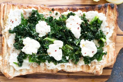 Grilled Lemon Kale Ricotta Flatbread