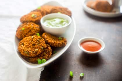 Vegan Buffalo Patties with Avocado Dip