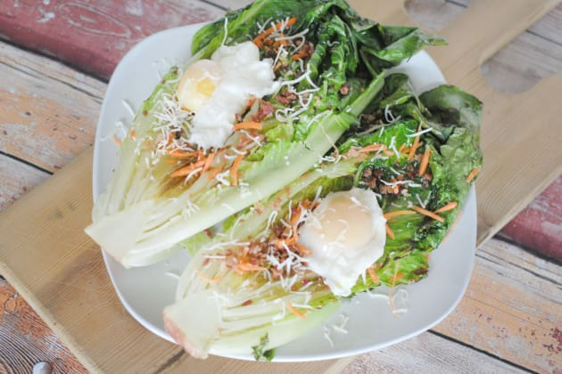 Grilled Romaine with Poached Eggs Photo