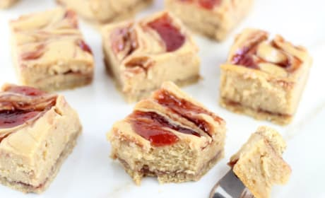 Peanut Butter & Jelly Swirl Cheesecake Bars Recipe