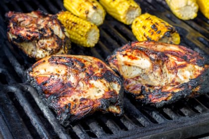 BBQ Split Chicken Breasts with Crazy Good Basting Sauce