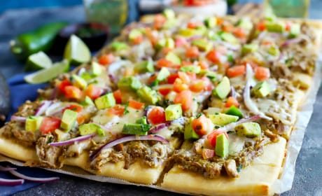 Avocado Pulled Pork Flatbread with Grilled Tomatillo Salsa Photo