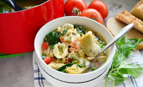 Lemon Artichoke Chicken Tortellini Soup Image