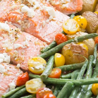 Mediterranean salmon sheet pan dinner photo
