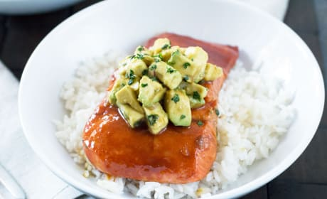 Sriracha Glazed Salmon with Asian Avocado Salsa Recipe