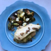 Pear and Blue Cheese Stuffed Chicken Breast with Brussels Sprouts