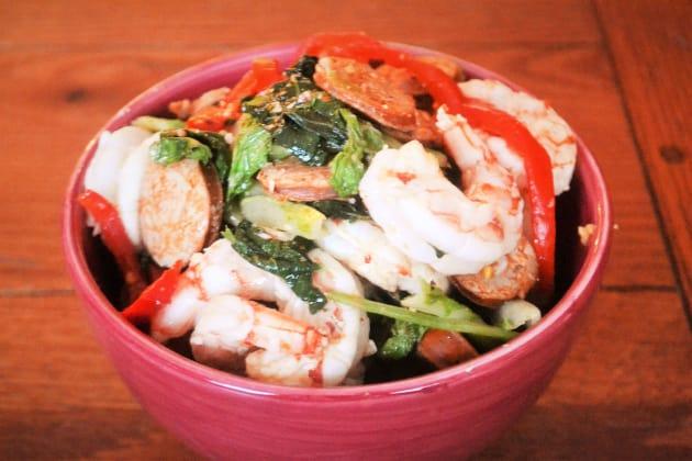 Cajun Sausage Shrimp and Greens Image