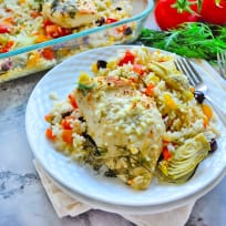 One Pan Greek Chicken and Rice Recipe