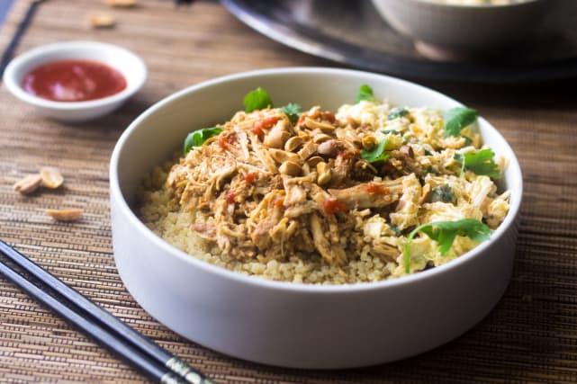 Crockpot Thai Peanut Chicken Quinoa Bowls Recipe