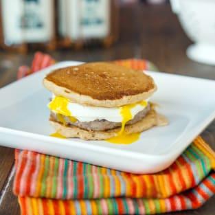 Pancake breakfast sandwiches photo