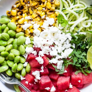 Summer maple lime watermelon zoodle bowl photo
