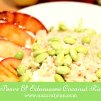 Honey Roasted Pears with Edamame Over Coconut Rice