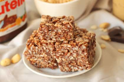 Gluten Free Rice Krispie Treats: Nutella & Peanut Butter Make 'em Awesome