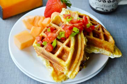 Egg and Cheese Waffle Sandwiches