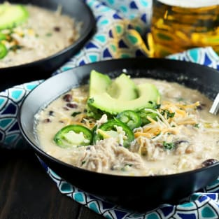 Slow cooker creamy white chicken chili photo