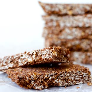Homemade chocolate coconut granola bars photo