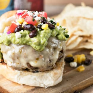 Southwest burgers with guacamole photo