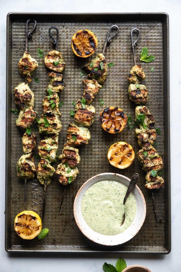 Grilled Herb Hummus Chicken Kebabs Pic