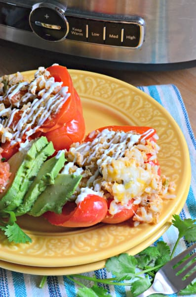 Slow Cooker Shredded Chicken Taco Stuffed Peppers Picture