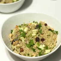 Autumn Quinoa Salad with Hazelnuts, Apple, and Cranberries