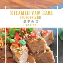 Steamed Yam Cake (Kuih Keladi) 蒸芋头糕