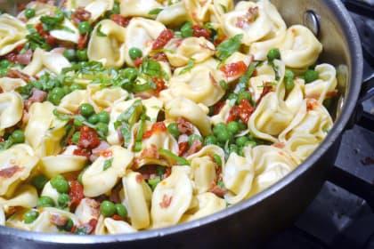 Tortellini with Peas and Prosciutto