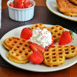 Strawberry waffles photo