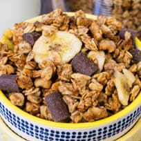 Peanut Butter Banana Chocolate Chunk Granola Recipe