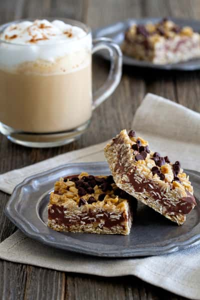 No Bake Chocolate Peanut Butter Oatmeal Bars Image