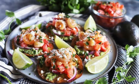 Honey Lime Shrimp and Guacamole Tostadas Recipe