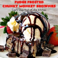 Fudge Frosted Chunky Monkey Brownies