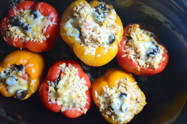Slow Cooker Shredded Chicken Taco Stuffed Peppers Image