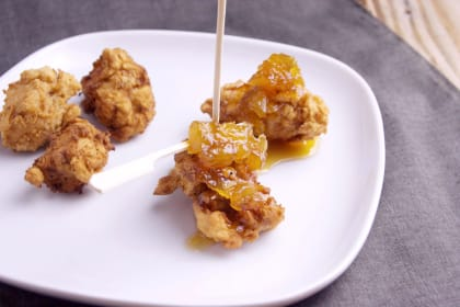 Popcorn Chicken with Pineapple Bourbon Sauce