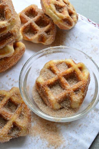 5 Minute Cinnamon Sugar Waffle Bites Pic