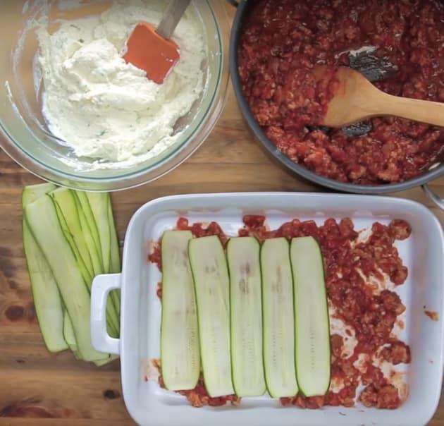 Making Zucchini Lasanga