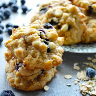 White chocolate blueberry oat cookies photo