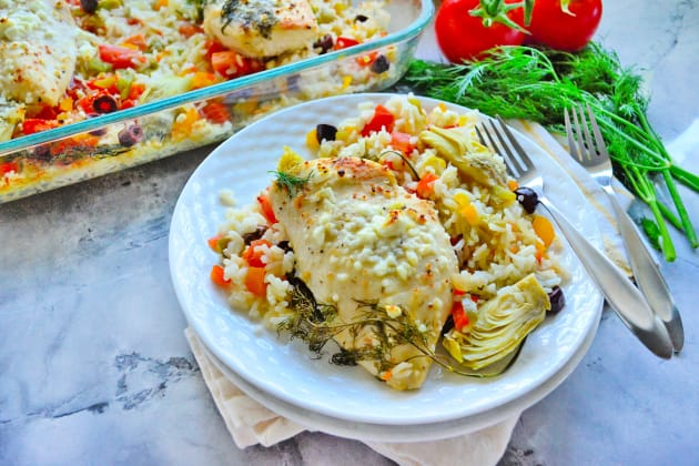 One Pan Greek Chicken and Rice Photo