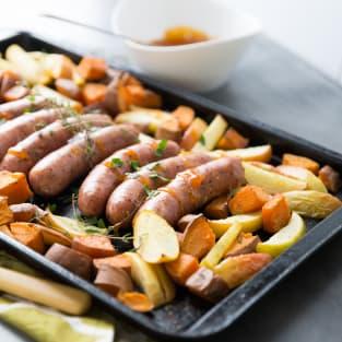 Sheet pan sausage dinner photo