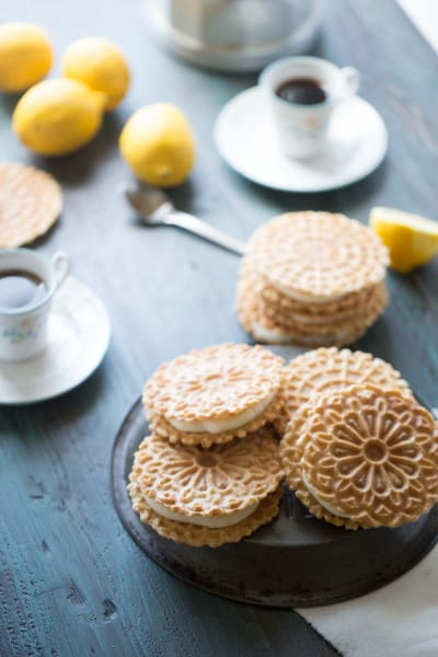 Lemon Ginger Pizzelle Sandwich Cookies Image