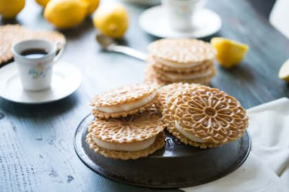 Lemon Ginger Pizzelle Sandwich Cookies