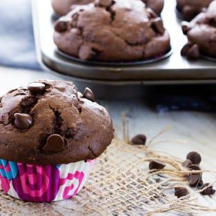 Chocolate banana muffins photo