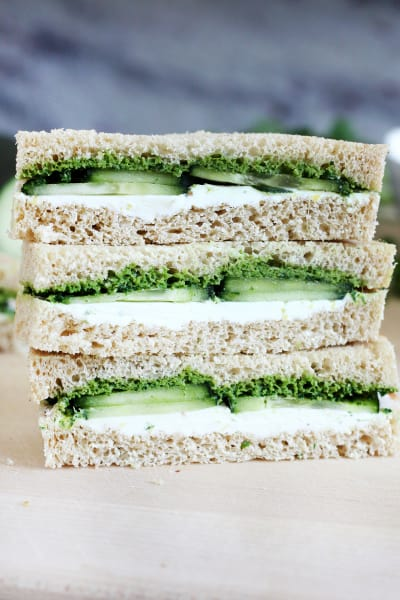 Cucumber and Mint Cilantro Chutney Tea Sandwiches Image