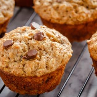 Chocolate chip banana oatmeal muffins photo