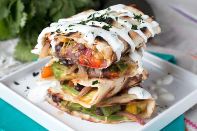 Veggie Avocado Quesadilla with Cilantro Crema Photo