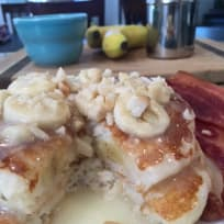 Banana Macadamia Nut Pancakes with Coconut  Buttermilk Syrup
