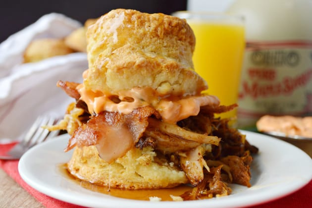 Pulled Pork Breakfast Biscuits Photo
