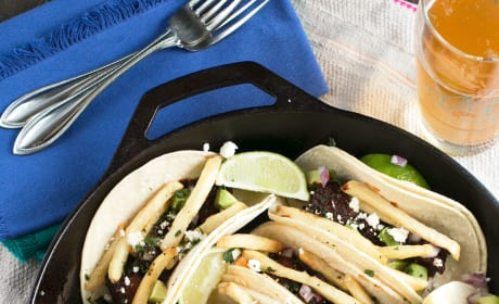 Carne Asada Steak Tacos with Fries Picture